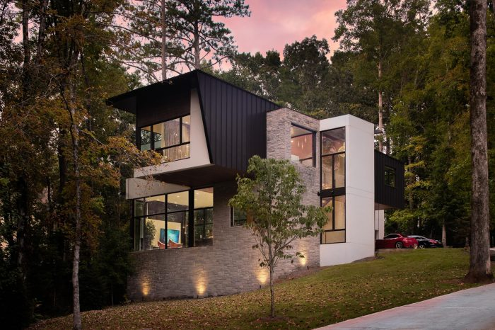 Luxury Modern Architecture Design Home at Twilight, Residential Interior Design & Architecture, Commercial Photography by Daniel Green, Atlanta, GA